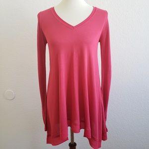 Anthropologie Deletta Fuscia Pink Knit V Neck Top